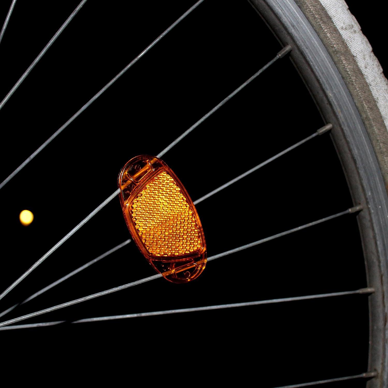 Kellago 4X Starkreflektierende Speichen-Reflektor in Orange Katzenaugen-Reflektoren//Fahrrad-Speichen-Reflektoren//Stvzo zugelassen mit starker Reflektionsfunktion f/ür hohe Sicherheit!