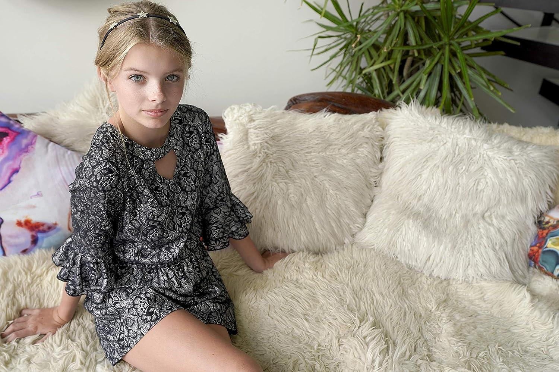 Big Girls Tween Tiered Ruffle 3//4 Sleeves Romper with Pockets 7-16 Smukke