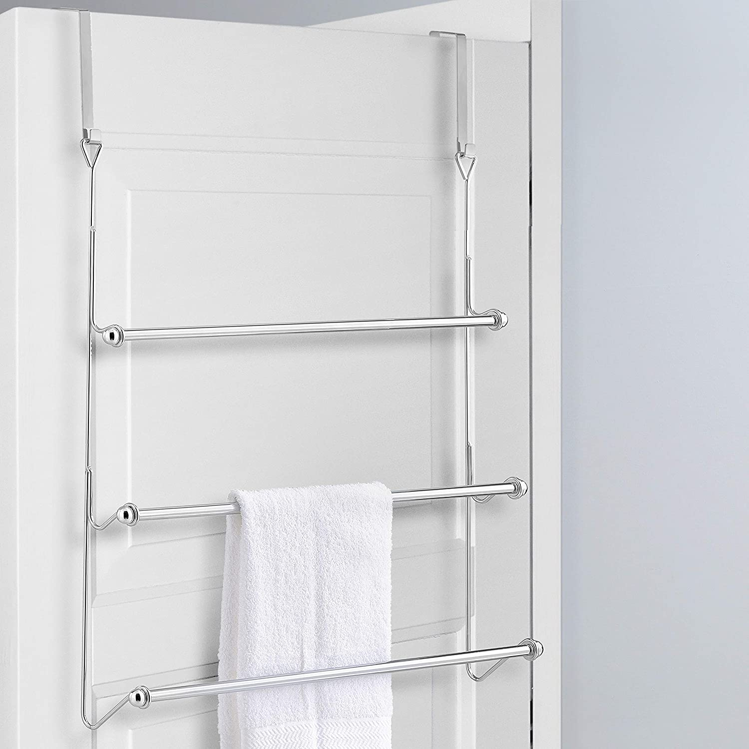 Pleasant Mygift Over The Door 3 Tier Bathroom Towel Bar Rack With Chrome Plated Finish Download Free Architecture Designs Rallybritishbridgeorg