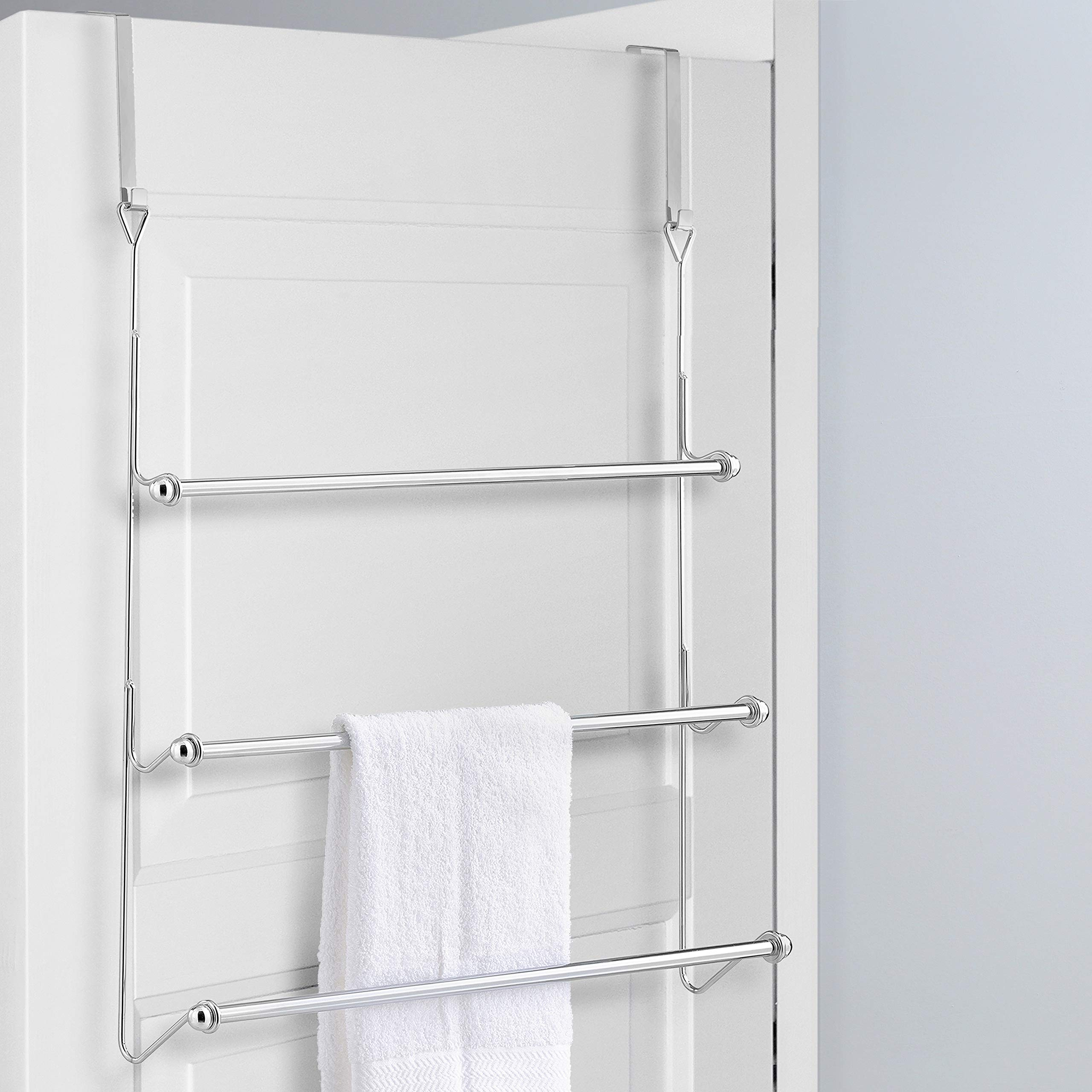 MyGift Over-The-Door 3 Tier Bathroom Towel Bar Rack with Chrome-Plated Finish by MyGift