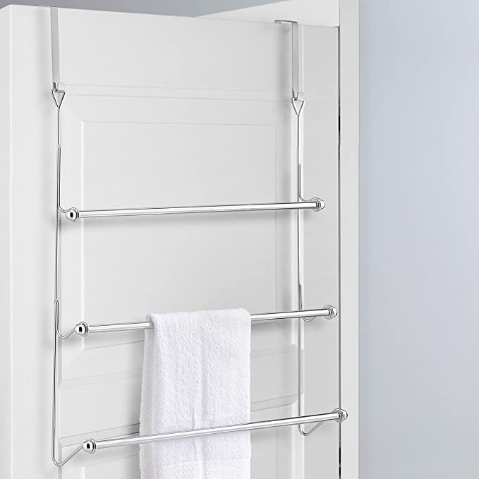 MyGift Over-The-Door 3 Tier Bathroom Towel Bar Rack with Chrome-Plated Finish