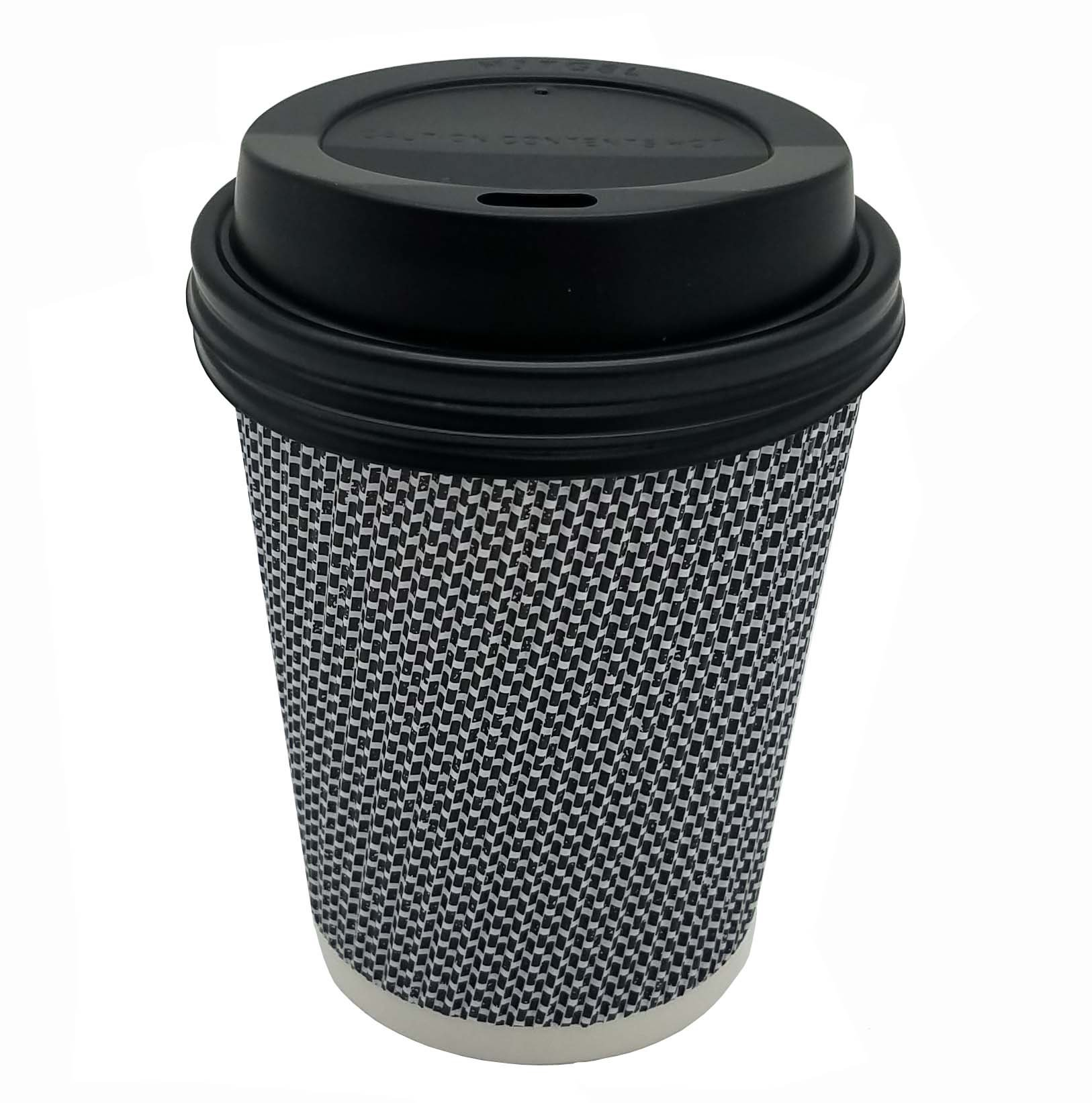 [600 SET] 8 oz Disposable Double Walled Hot Cups with Lids - No Sleeves needed 8oz Premium Insulated Ripple Wall Hot Coffee Tea Chocolate Drinks Espresso Travel To Go Paper Cup and lid Black Geometric