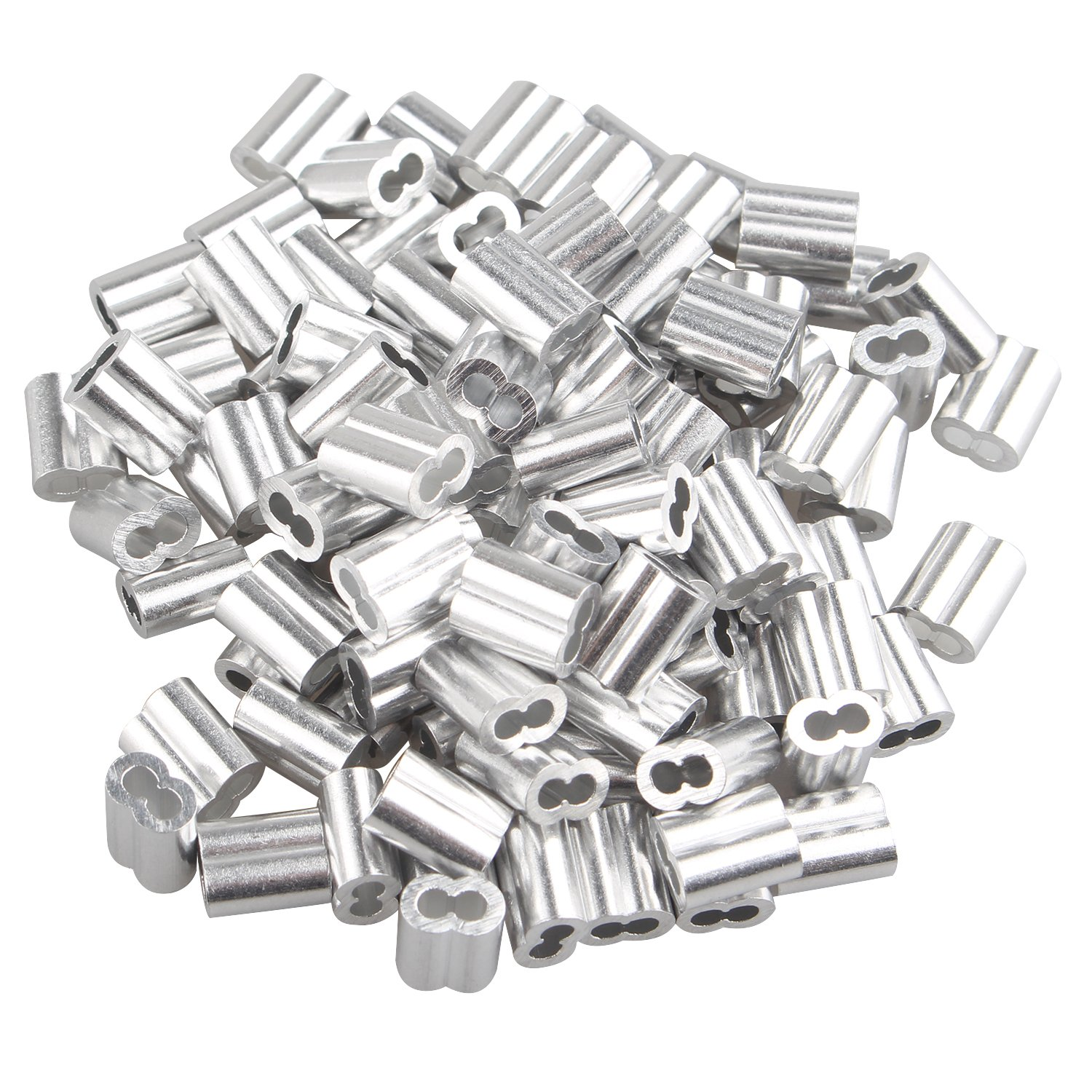 100 pcs Aluminum Crimping Loop Sleeve Clips with Double Ferrules/Holes for 2.0mm Cable Wire Rope Silver Tone Fushengda