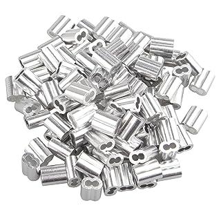 100 piezas de 2 mm cable cuerda de aluminio mangas clips engarzados bucles tono plata con doble agujeros
