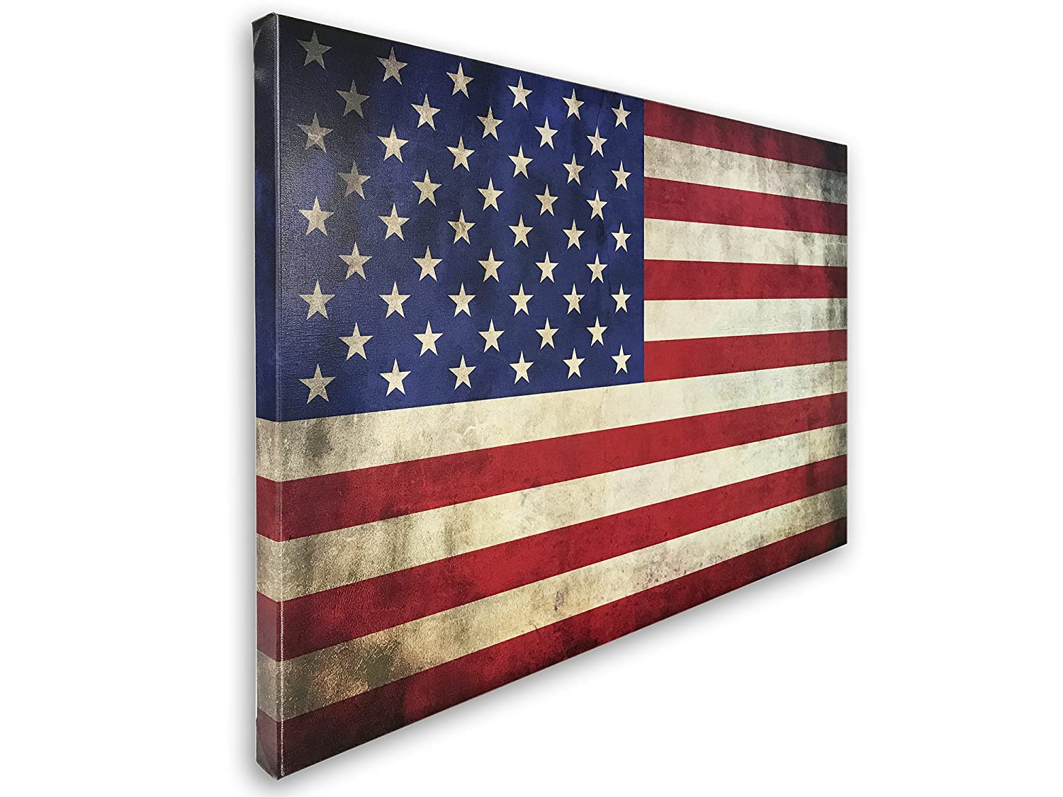 American Flag Canvas Print Wall Art Ready to Hang, American made with authentic 13 stripes and 50 stars. Made in the USA don\'t be fooled by low ...