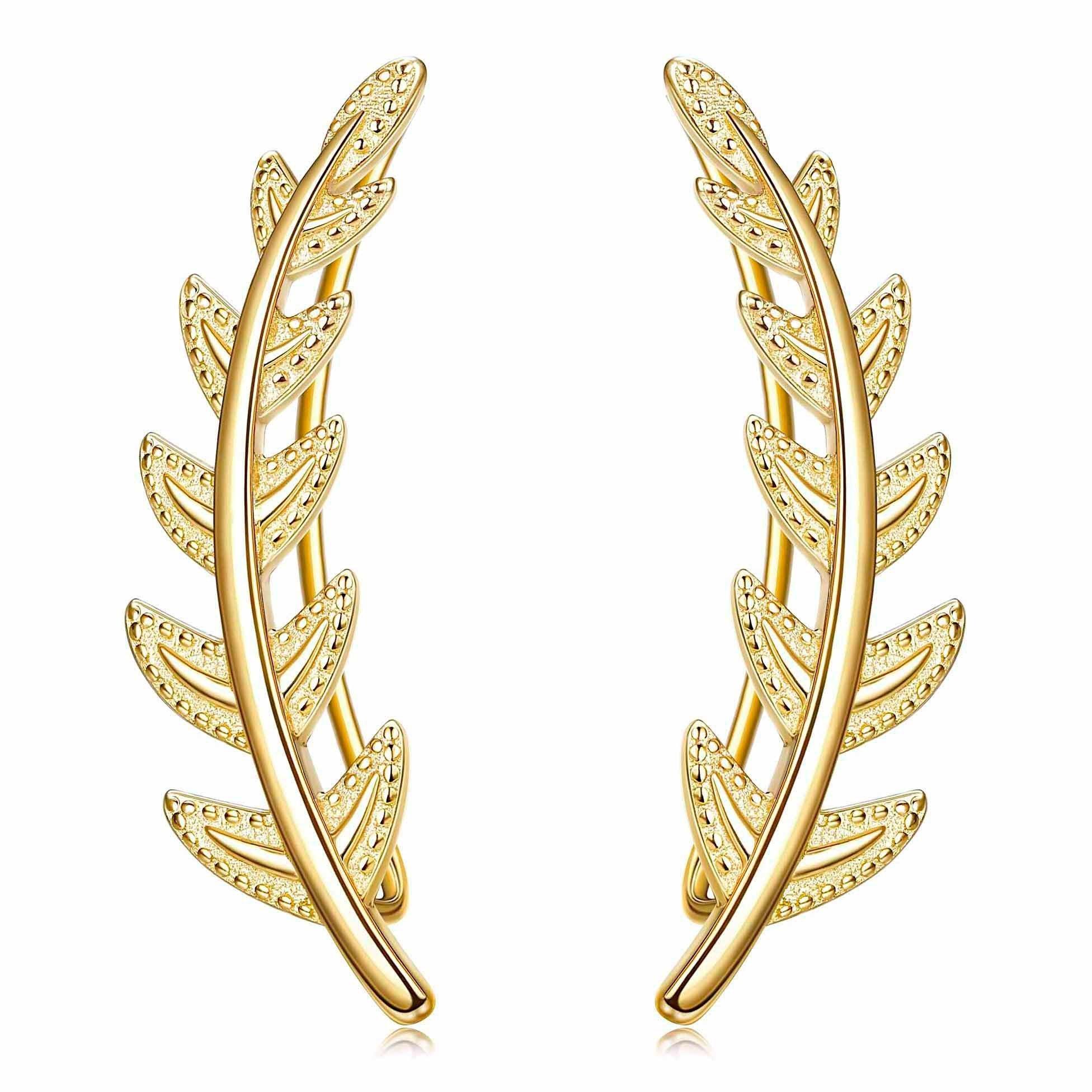 FUNRUN JEWELRY 18K Gold Plated Leaf Sterling Silver Ear Crawler Cuff Earrings for Women Girls Climber Earrings Hypoallergenic