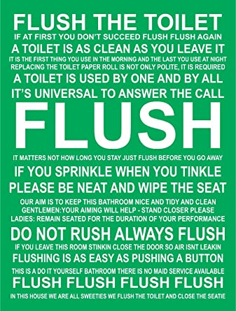 INDIGOS UG - Sticker - Safety - Warning - Bathroom Funny Flush Rules