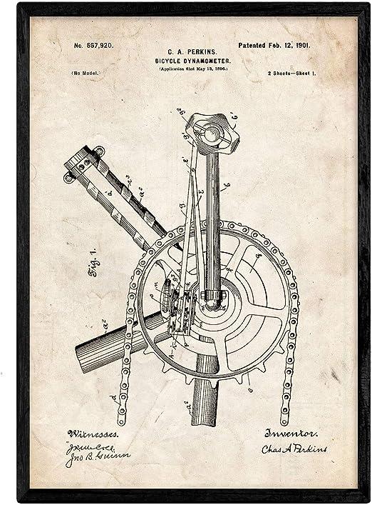 Nacnic Poster con Patente de Dinamo para Bicicleta. Lámina con ...