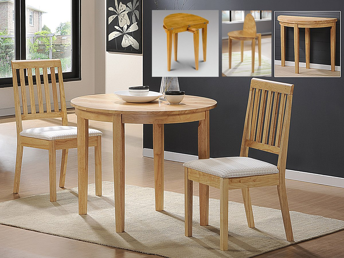 Lunar extending solid rubberwood dining table plus 2 chairs amazon ca home kitchen