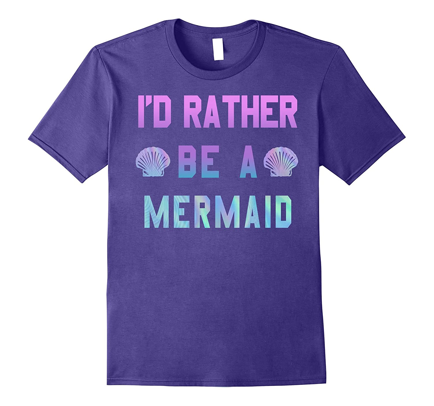 I'd Rather Be a Mermaid Holographic Ombre Graphic T-Shirt-BN