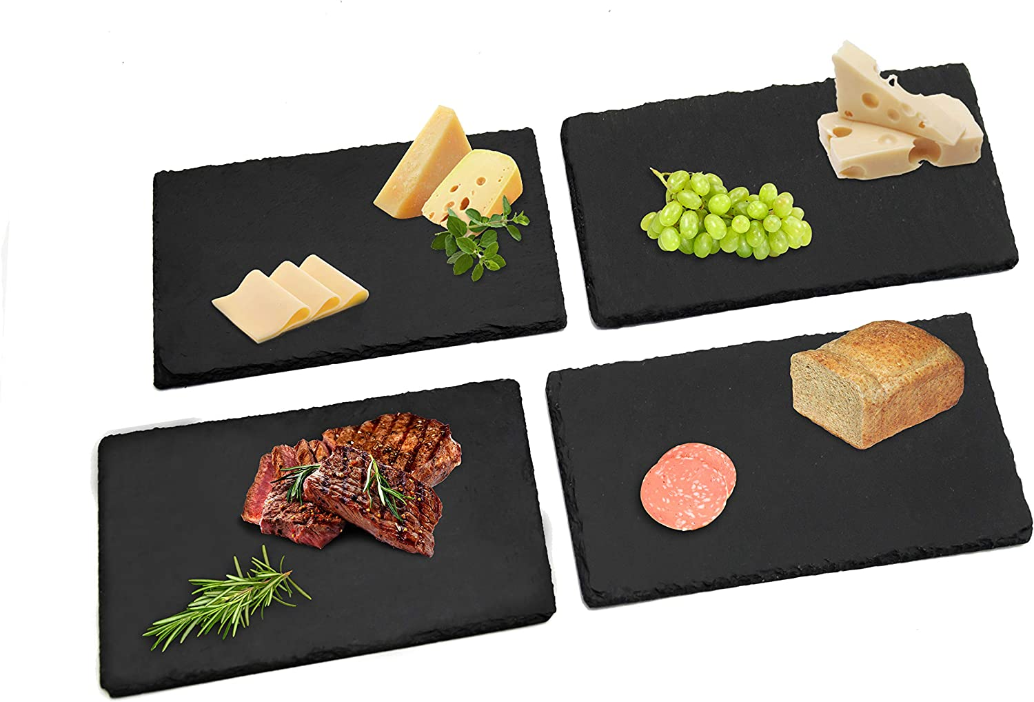 Large Slate Plates 12x8 In(30×20cm),4pc Natural Stone Rock Black Cutting Board ,Cheese Board,Charcuterie Boards for Cheese,Sushi mat,Pastry,bread,Snack board and Meat Set (Black Board Set of 4 Pcs)