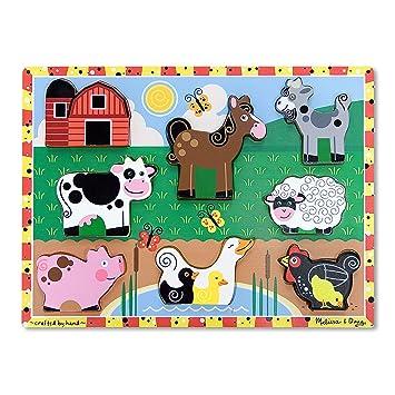Melissa Doug Holzpuzzle mit klobigen Teilen Bauernhoftiere 8 Teile