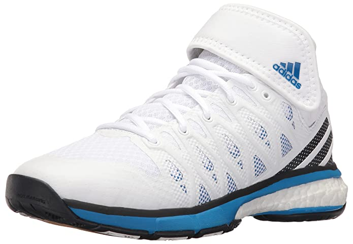 adidas Men's Energy Volley Boost MID Volleyball Shoe, White/Black/Shock Blue S, 10.5 M US