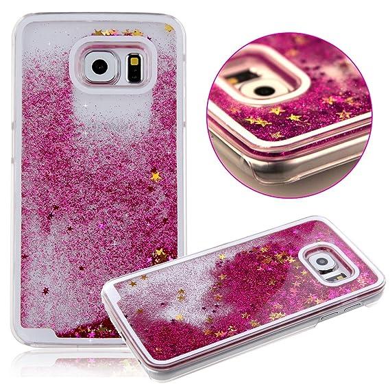 quality design 5fa78 b3cd4 Daminfe Galaxy S6 Edge Glitter Liquid Case, Creative Design Funny Cute  Flowing Liquid Swimming Bling Glitter Star Quicksand Crystal Back  Protective ...