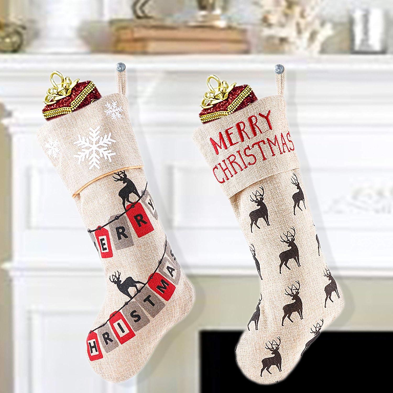 Valery Madelyn 44cm 2 Piezas Calcetines de Navidad, Marrón Medias de ...