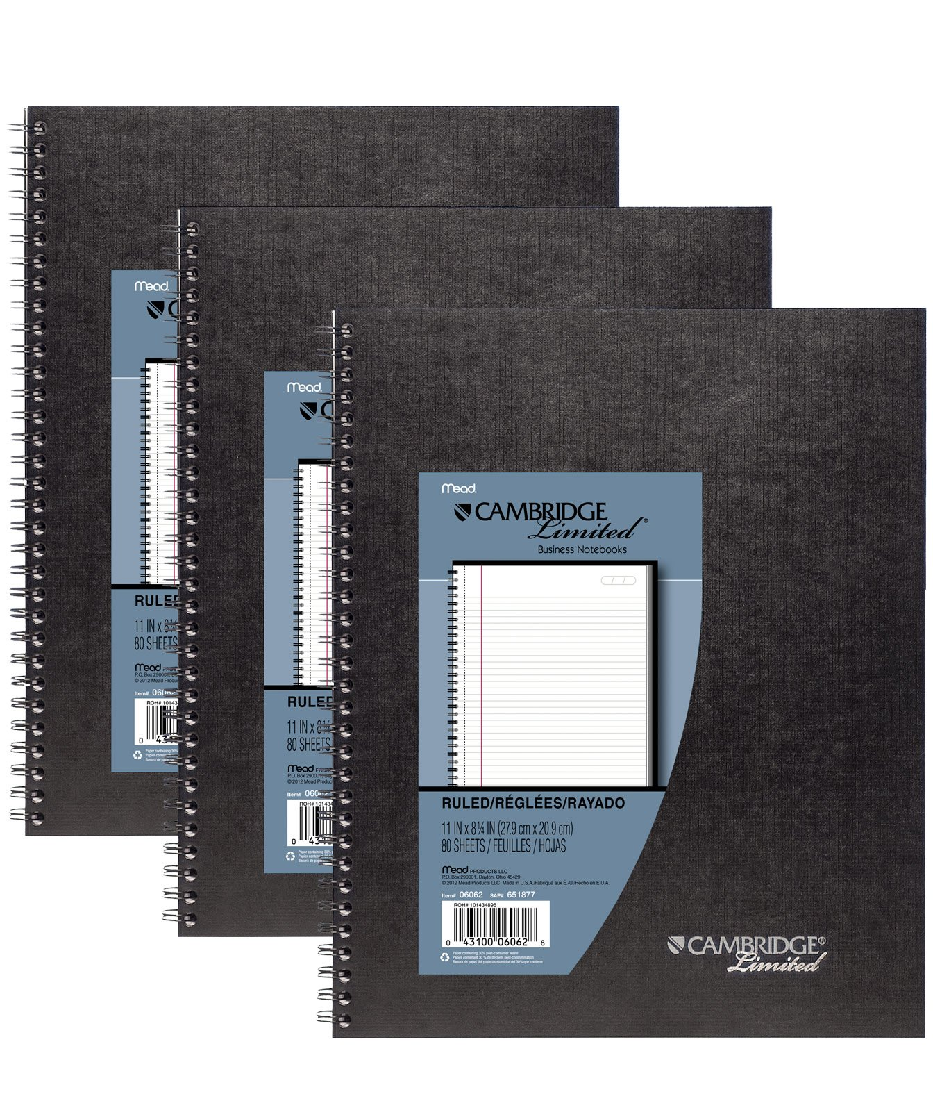 Mead Cambridge Limited Business Notebooks, Legal Ruled, 1 Subject, 3-Pack (73397) by Mead