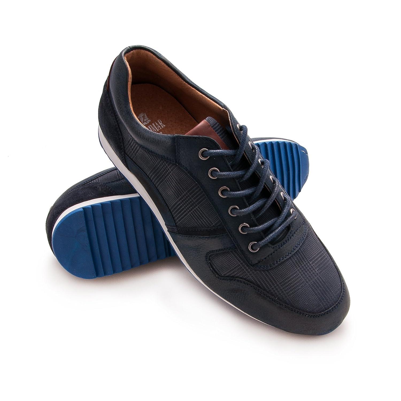 Zerimar Zapato de Piel Deportivo Para Hombre Zapato Cómodo Para Hombre 46 EU|Azul marino