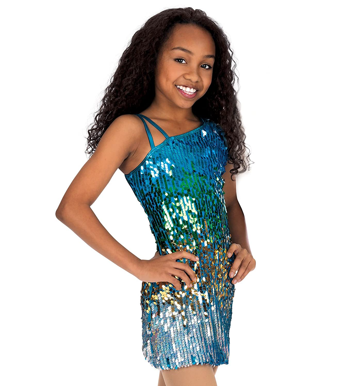 Amazon.com: Child Sequin One Shoulder Dress,N7040C: Clothing