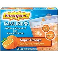 Emergen-C Immune+ 1000mg Vitamin C Powder, with Vitamin D, Zinc, Antioxidants and Electrolytes for Immunity, Immune Support Dietary Supplement, Super Orange Flavor - 30 Count/1 Month Supply