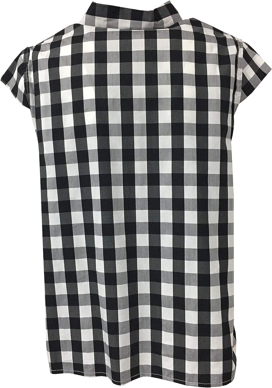 NODO Camicia Donna Manica scesa a Quadri TMD07M101 Made in Italy Bianco / Nero