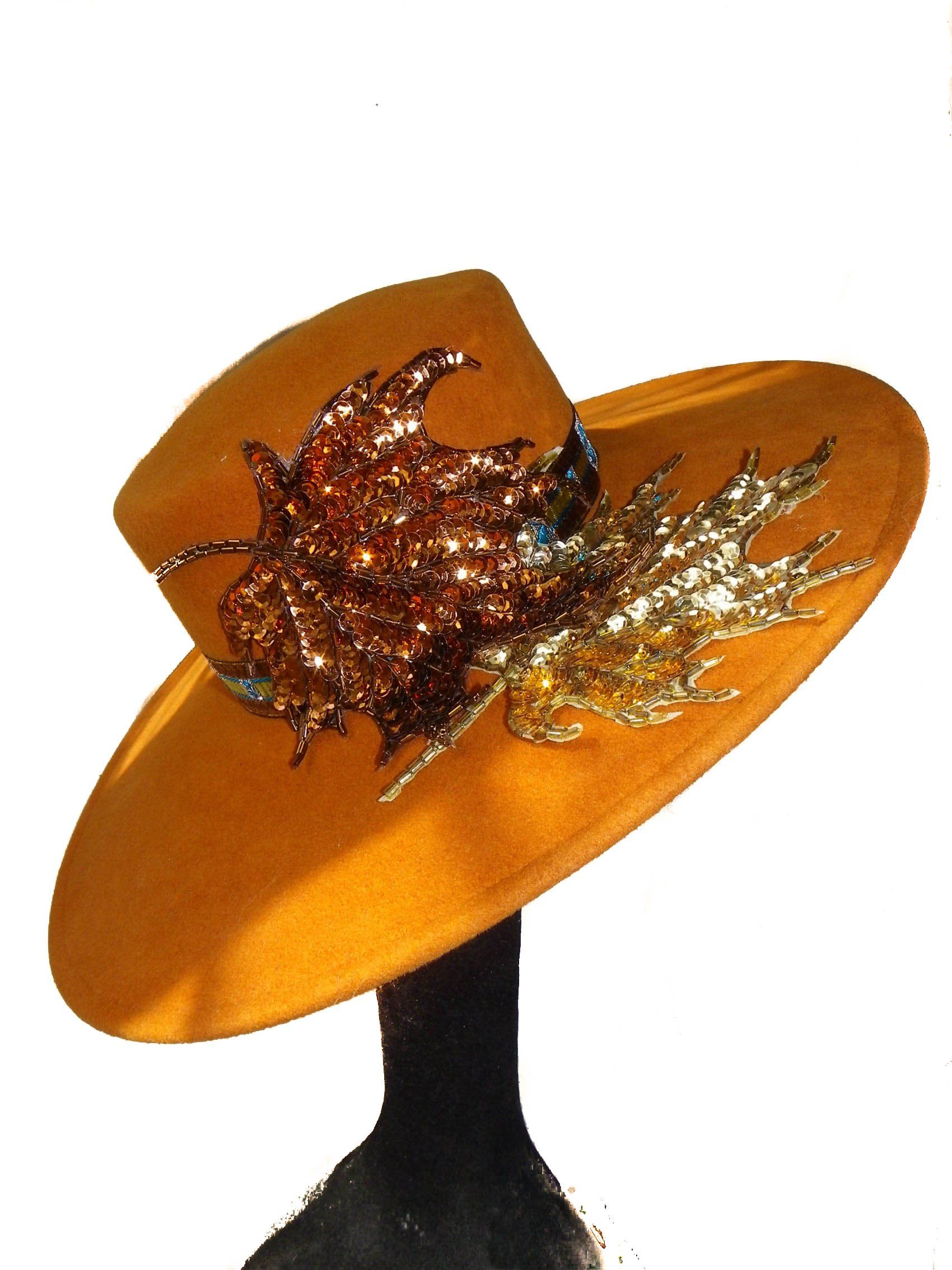 Style Of Individuality Wide Brim Wool Felt Hat In FALL'S Pumpkin, West's Turquoise, With Sparkles! by Style Of Individuality (Image #7)