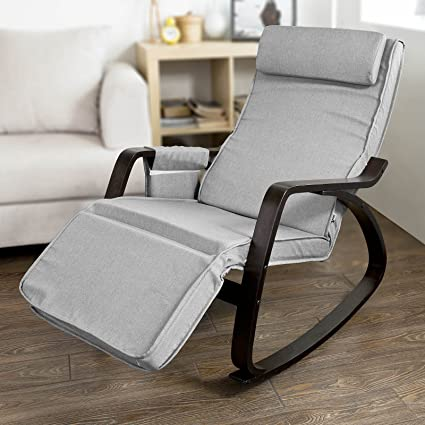 Cool Haotian New Relax Rocking Chair Lounge Chair With Adjustable Footrest Fst20 Hg Grey Machost Co Dining Chair Design Ideas Machostcouk