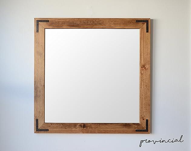 Amazon.com: Rustic Wooden Wall Mirror w/ Corner Brackets: Handmade