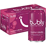 bubly Sparkling Water, Raspberry, 12 fl oz Cans (Pack of 8)