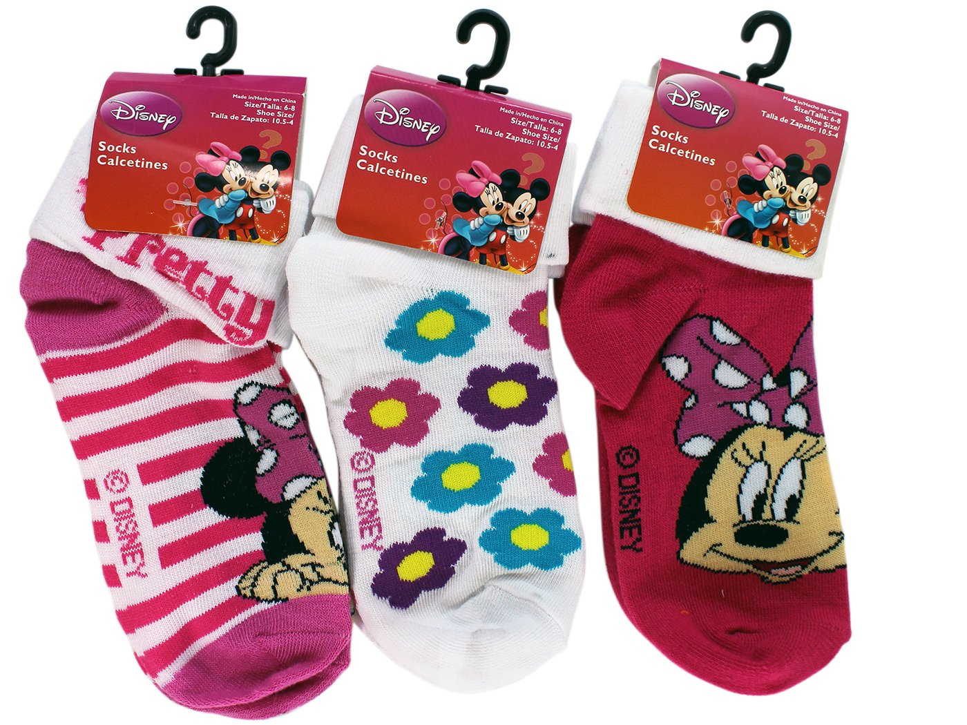 Amazon.com: 3 Pair Assorted Minnie Mouse Socks (Size 6-8) - Kids Socks: Toys & Games