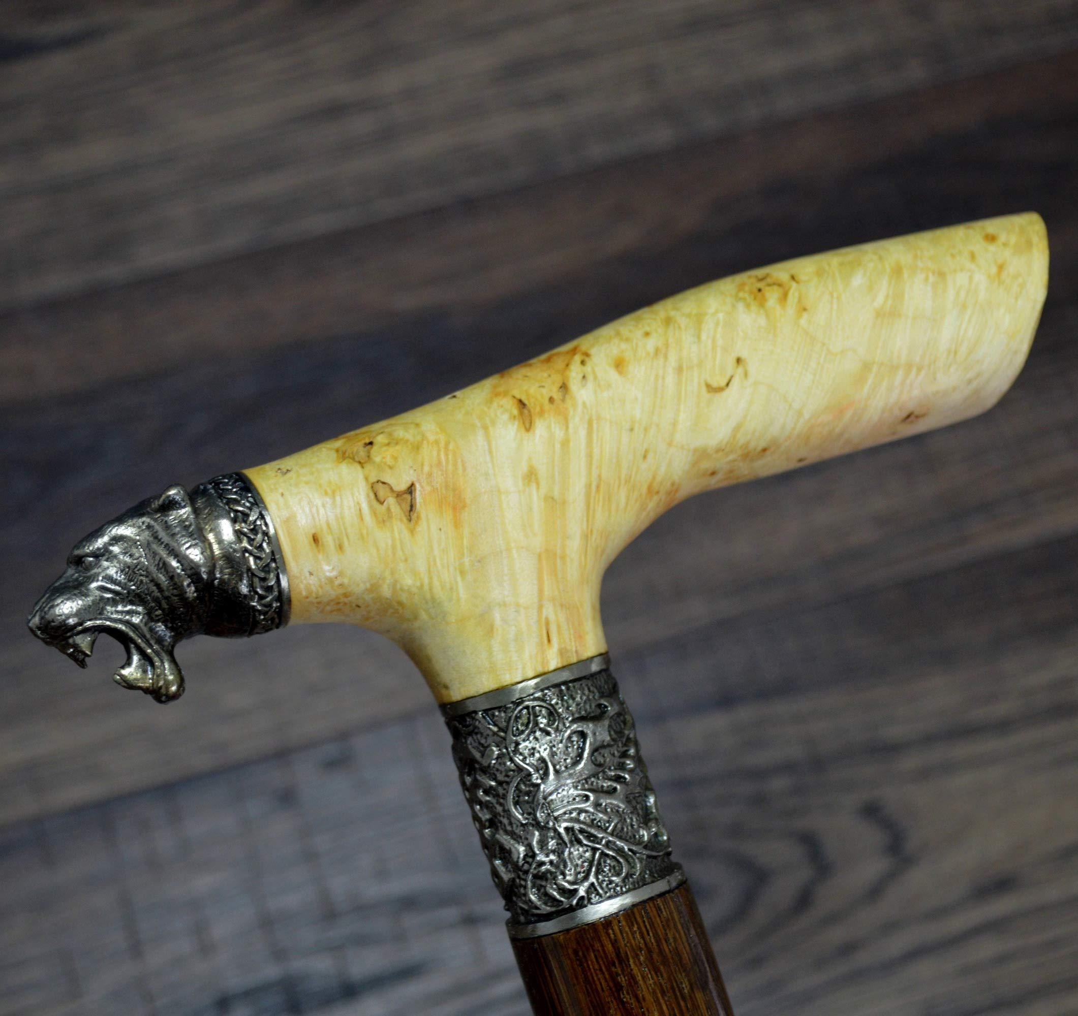 oleksandr.victory Canes Walking Sticks Wood Reeds German Silver Wooden stabilized BURL Handmade Cane Stick Men's Accessories Saber-Toothed
