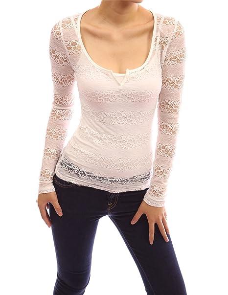 PattyBoutik helado de encaje de flores Cami de manga larga de cuello de Split Twinset Blusa