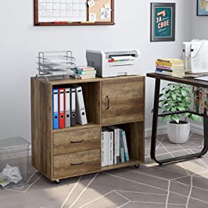 HOMECHO Lateral File Cabinet with 2 Drawers, Printer Stand with Storage Shelves, Large Mobile Filing Cabinet, Functional Wood Cabinet for Home Office with Wheels, Rustic Brown