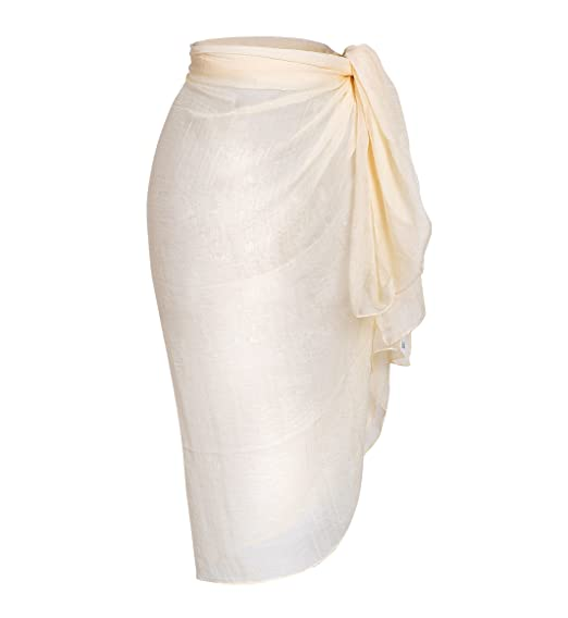 1f75f519ae Sanchy Women's Plus Size Bathing Suit Cover Up Beach Sarong Beige Plus Size
