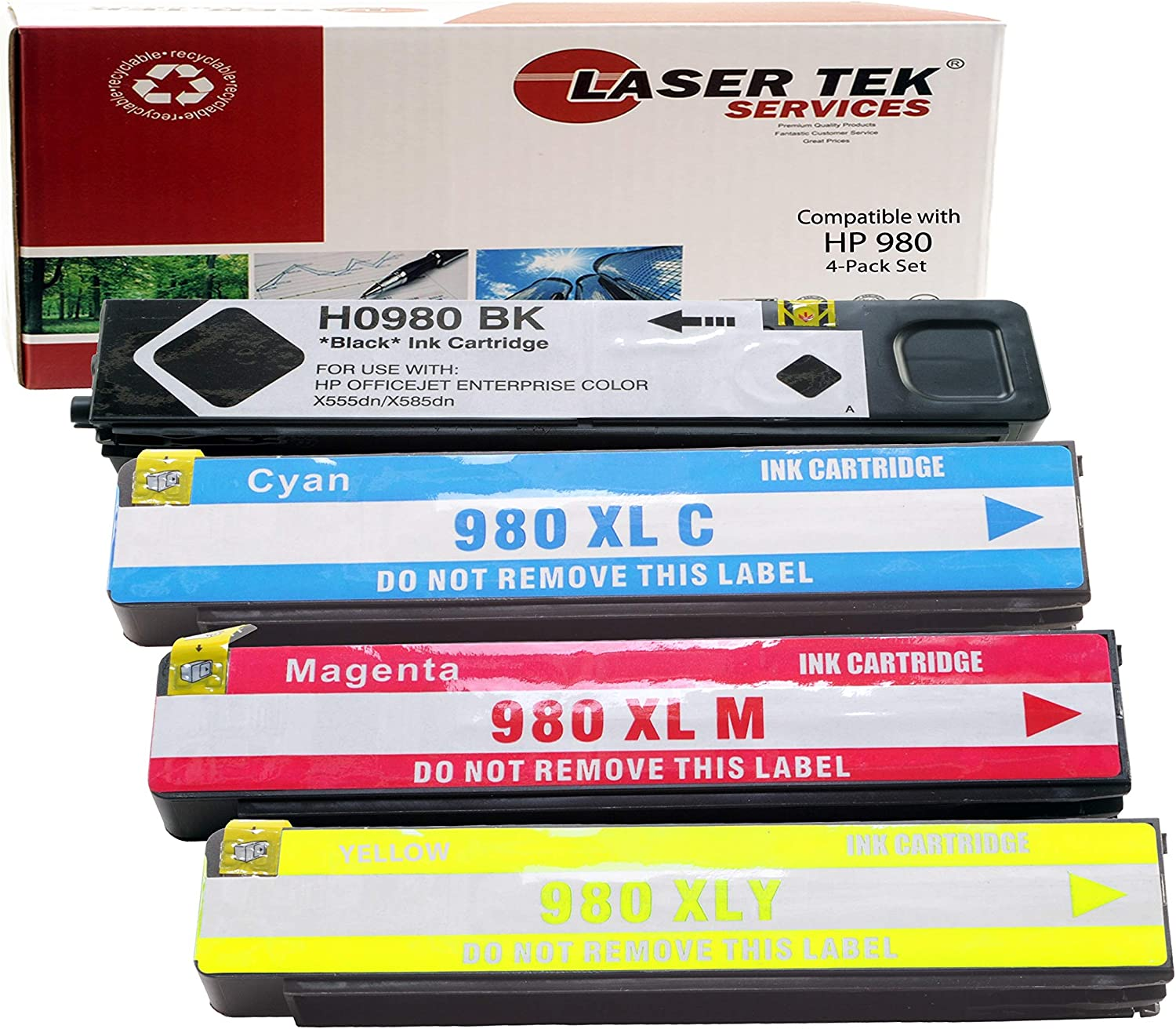Black, 2-Pack Laser Tek Services Compatible Ink Cartridge Replacement for High Yield HP 980 D8J10A.