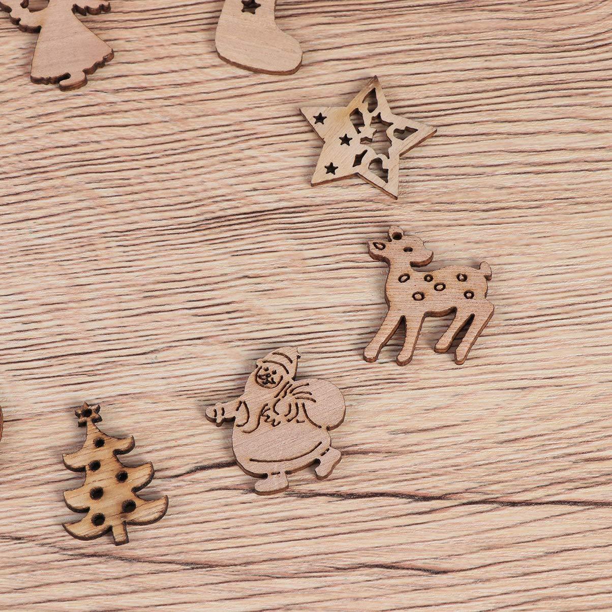 Holibanna Pezzi di Legno di Natale Ornamenti Fai da Te Tag Artigianali in Legno Ritagli abbellimenti Pendente Pendente 50 pz Modello Casuale