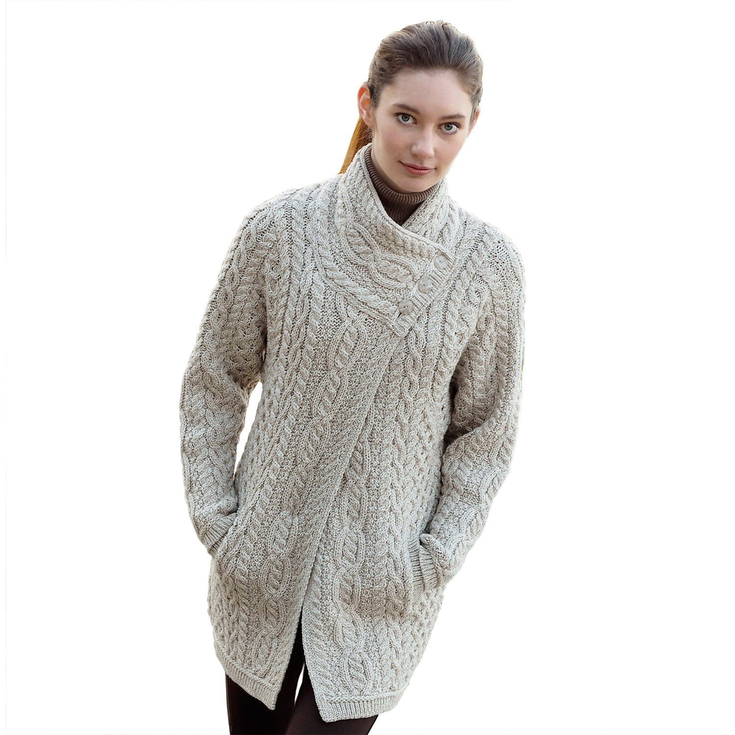 100% Irish Merino Wool Ladies 3 Button Aran Coat by West End Knitwear supplier