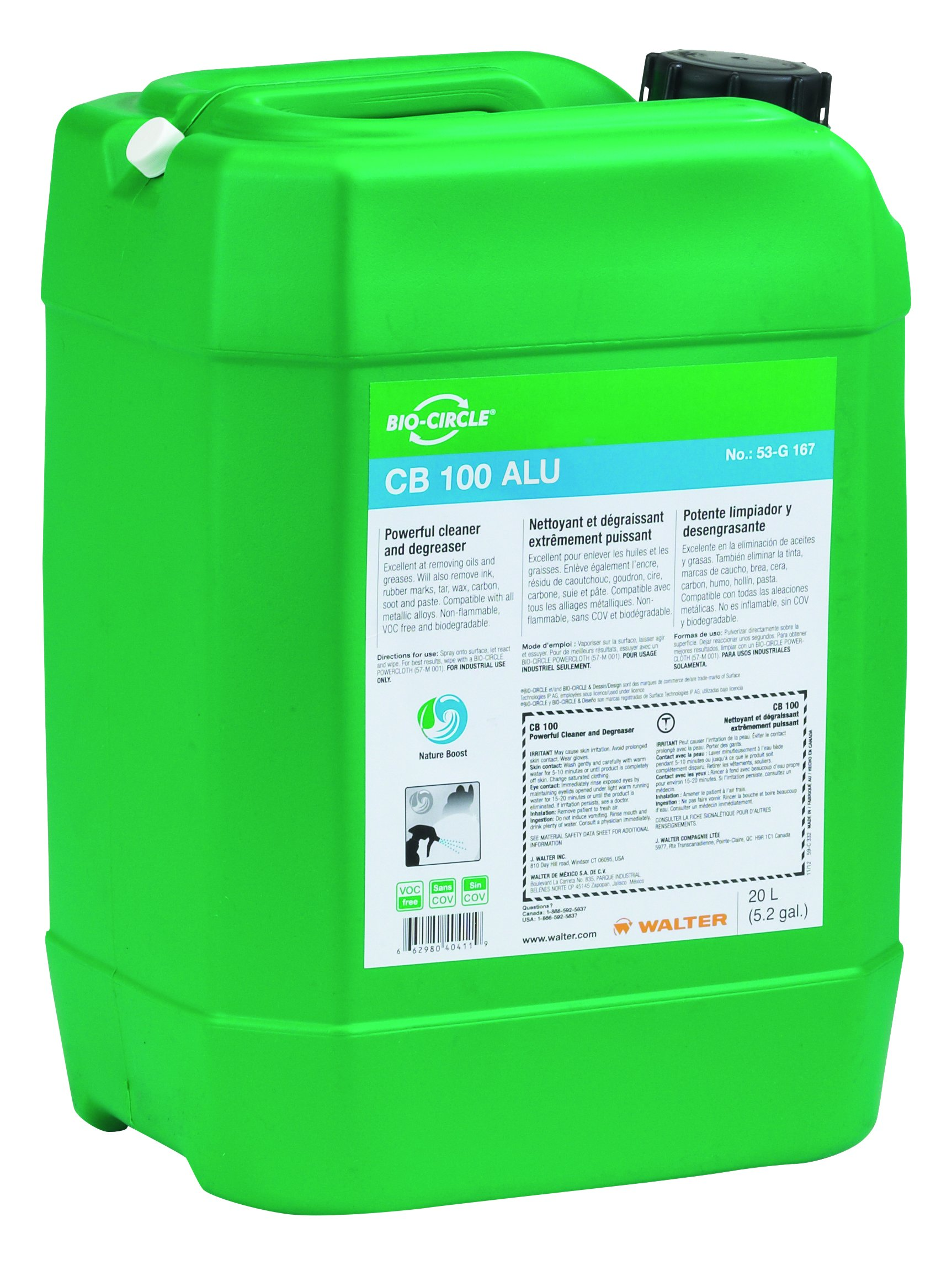 Bio-Circle 53G127 Cleaner and Degreaser - CB 100, 20L Cleaning Solution for Aluminum, Non-Ferrous Alloy. Industrial Degreasers by Bio-Circle