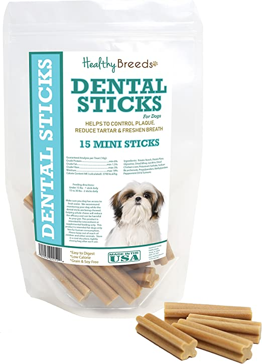 Healthy Breeds Triple Enzyme Dental Sticks - Vet Formulated to Control Plaque, Reduce Tartar and Freshen Breath - Grain Free - Tasty Chicken Flavor - Large or Minis by Breed