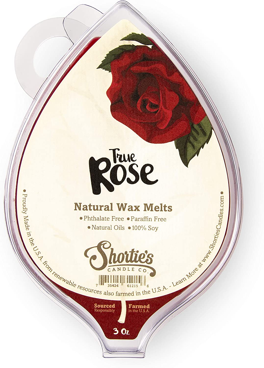 Shortie's Candle Company True Rose Soy Wax Melts - All Natural - Made with Responsibly Sourced Soy and Essential Fragrance Oils - Phthalate & Paraffin Free, Vegan, Non-Toxic