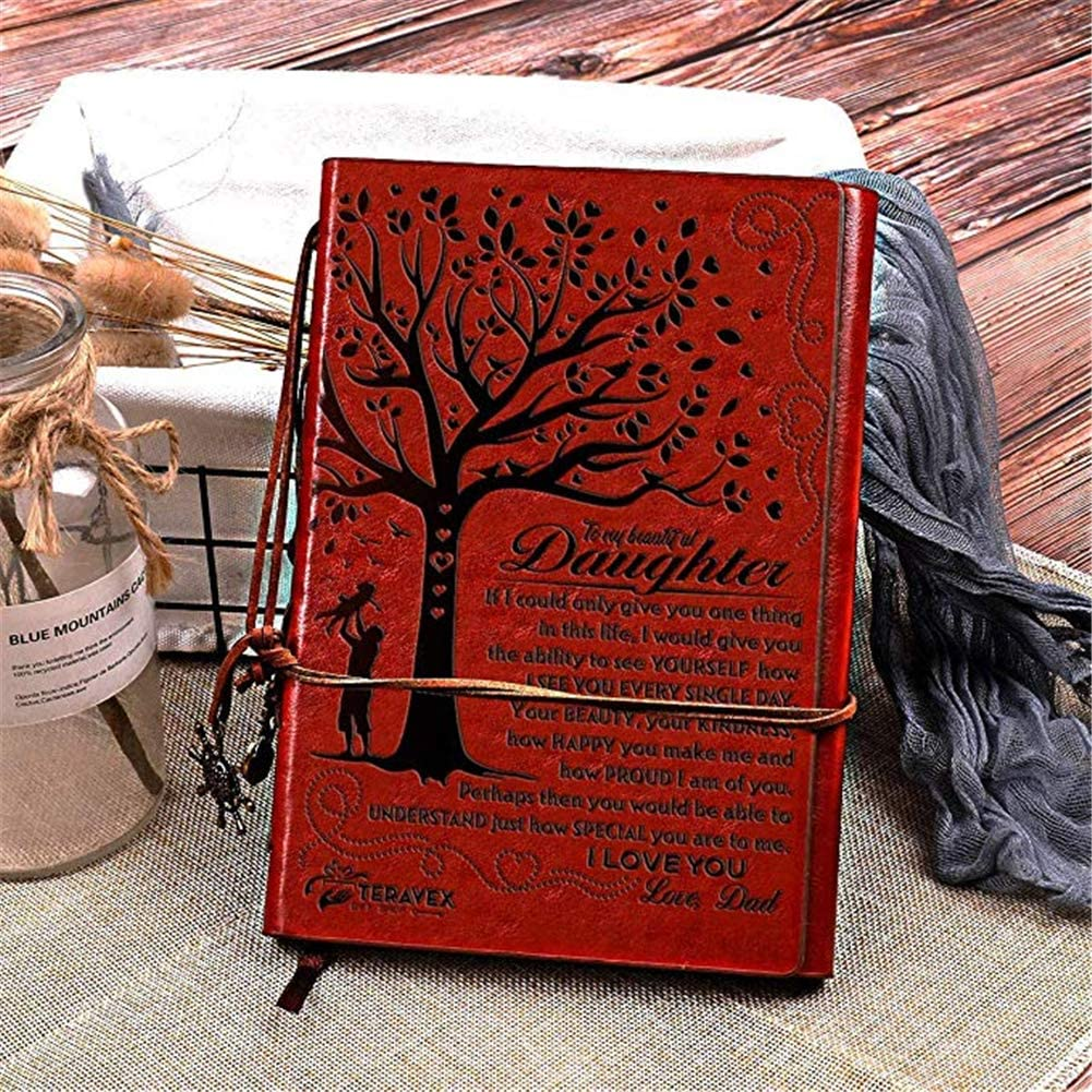 to My Daughter Leather Journal Big Tree Diary-Daughter-PU-dad 120 Page Travel Journal Diary Sketch Book Gift for Girls