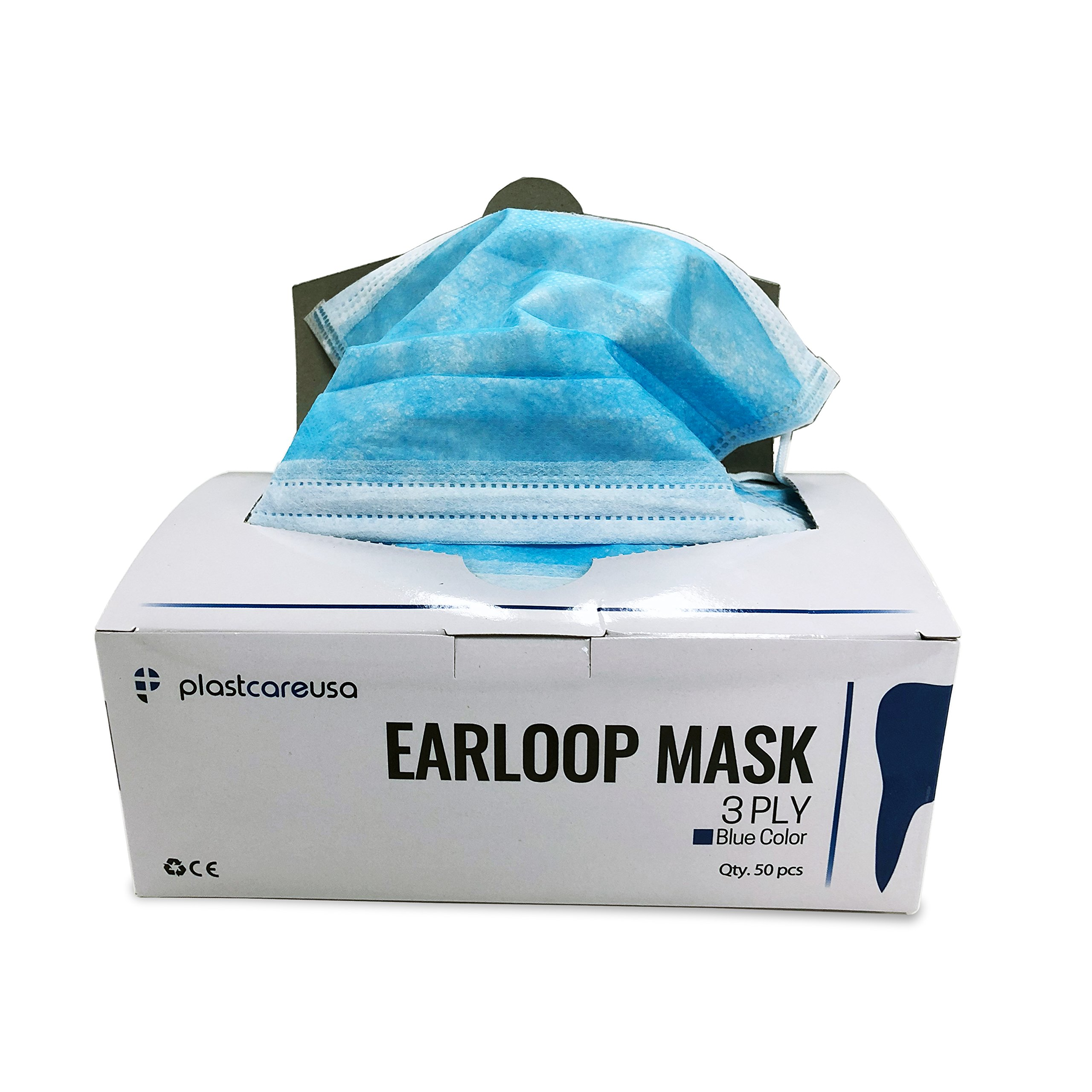 2000 3-Ply Sanitary Medical Grade Ear Loop Masks (Blue) (1 Case) by PlastCare USA