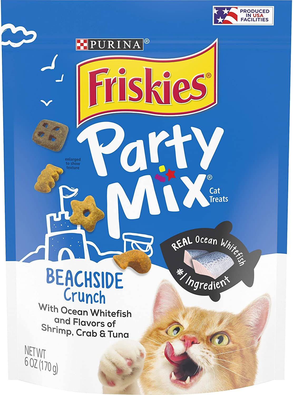 Purina Friskies Made in USA Facilities Cat Treats, Party Mix Beachside Crunch - (6) 6 oz. Pouches