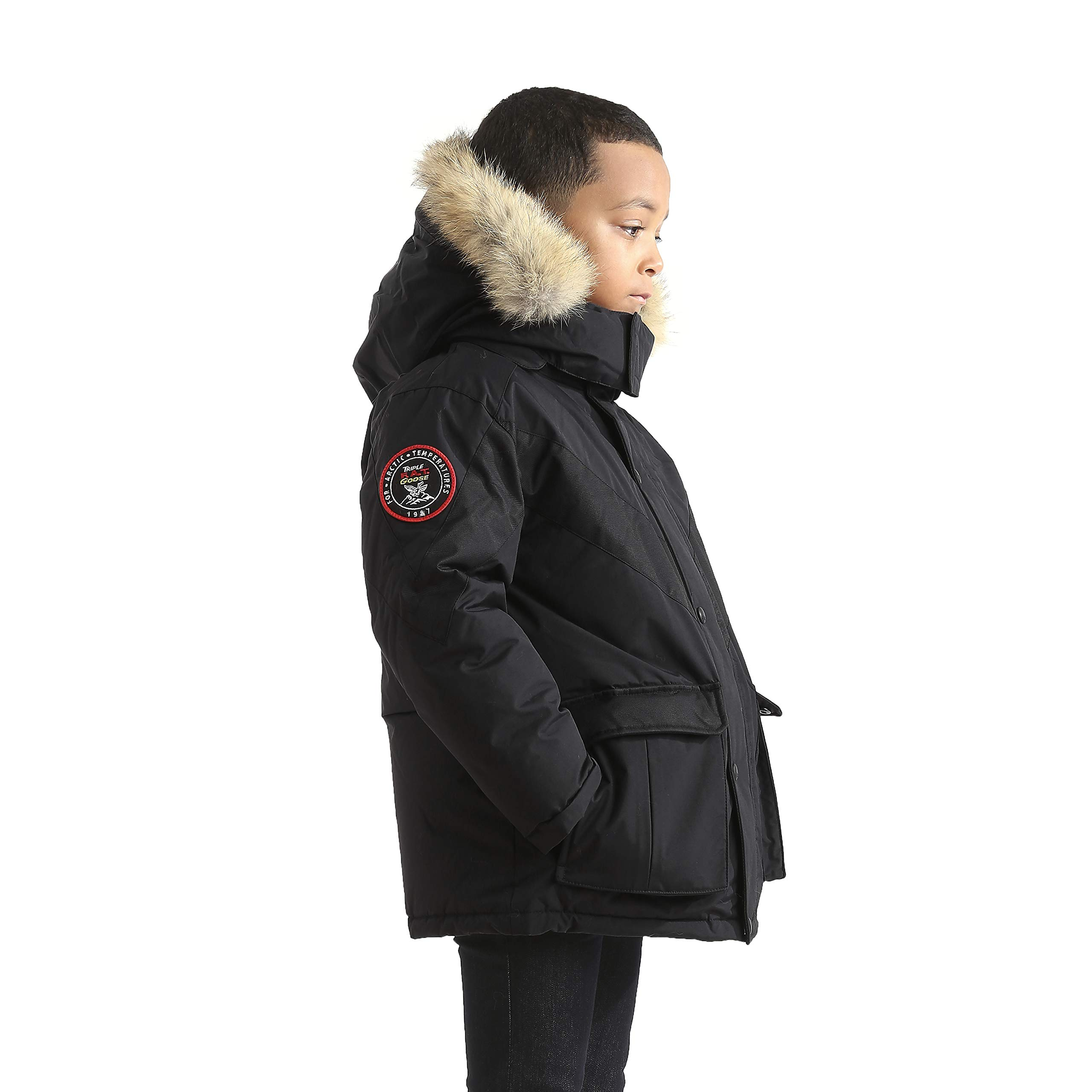 Triple F.A.T. Goose Hesselberg Boys Hooded Goose Down Arctic Parka with Real Coyote Fur (7, Black) by Triple F.A.T. Goose (Image #2)