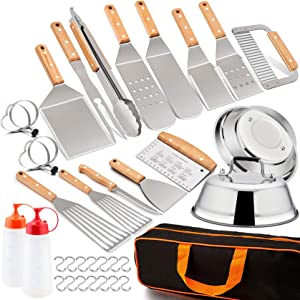 Leonyo Griddle Accessories Set of 22, Heavy Duty Stainless Steel Grill Griddle Metal Spatula for Cast Iron Flat Top Teppanyaki Hibachi Hamburger Cooking, Carry Bag, Chef Gift, Melting Dome, S Hook