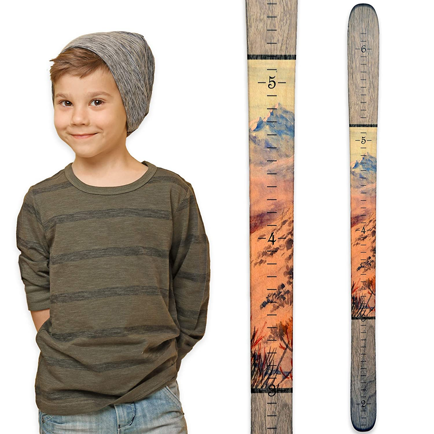 Growth Chart Art | Wooden Ski Growth Chart | Baby Skis | Ski Gifts | Wall Hanging Wood Height Chart for Measuring Kids, Children, Boys, Girls | Traditional Wood SKITW