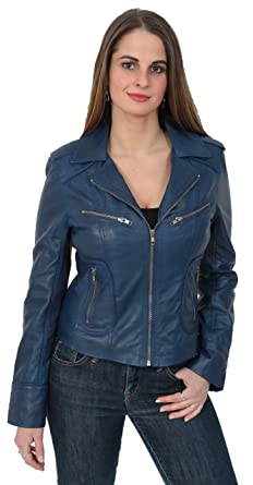 A1 Fashion Goods Womens Slim Fit Navy Blue Real Leather Jacket Biker