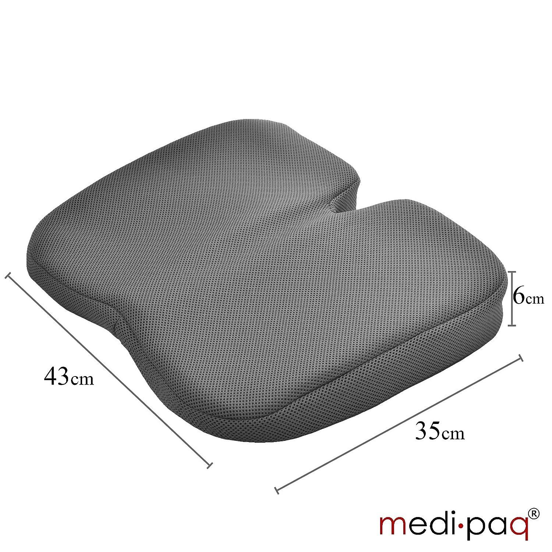 Cojín de cuña de libertad - excelente para el alivio de coxis, apoyo lumbar, dolor de espalda en el coche o en casa (malla tridimensional gris) por ...