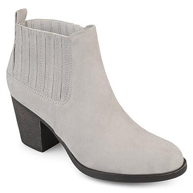 7e6b40306 Journee Collection Womens Almond Toe Block Heel Western Chelsea Booties  Grey, 7.5 Regular US