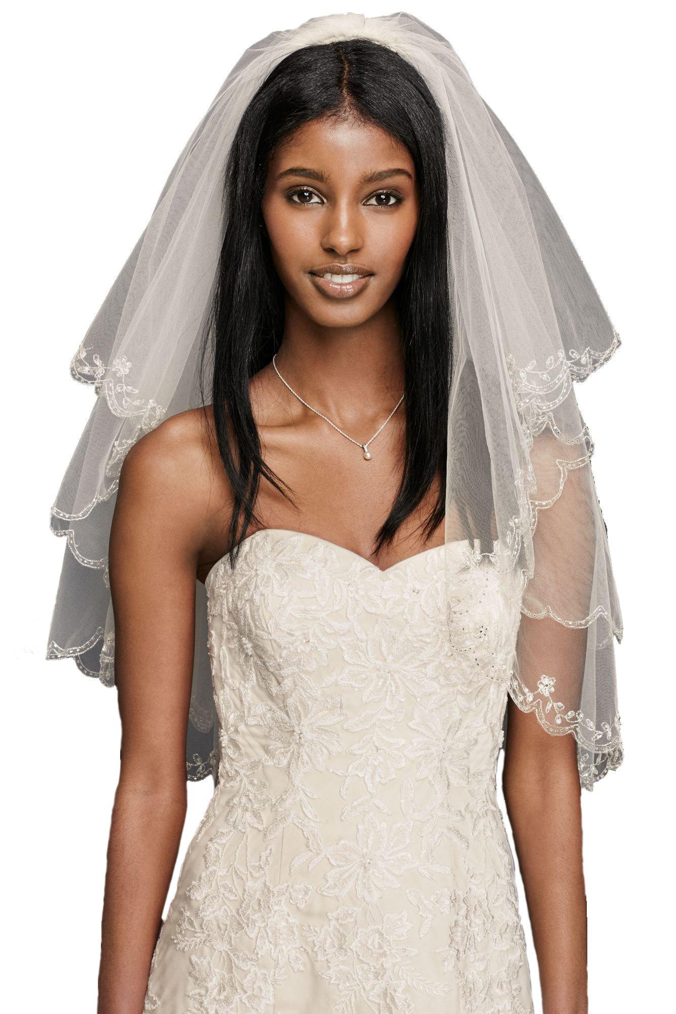 Passat Pale Ivory 2 Tiers 110CM Walking Veil wedding vails beautifully beaded scallop edge Wedding Bridal Veil 137