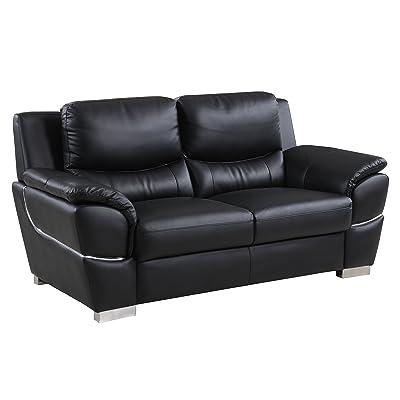 Blackjack Furniture 4572-BLACK-L Leather Match, Den Loveseat, Black